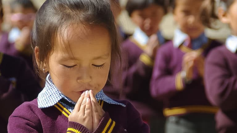 Morning prayer at the LMHS in Zanskar