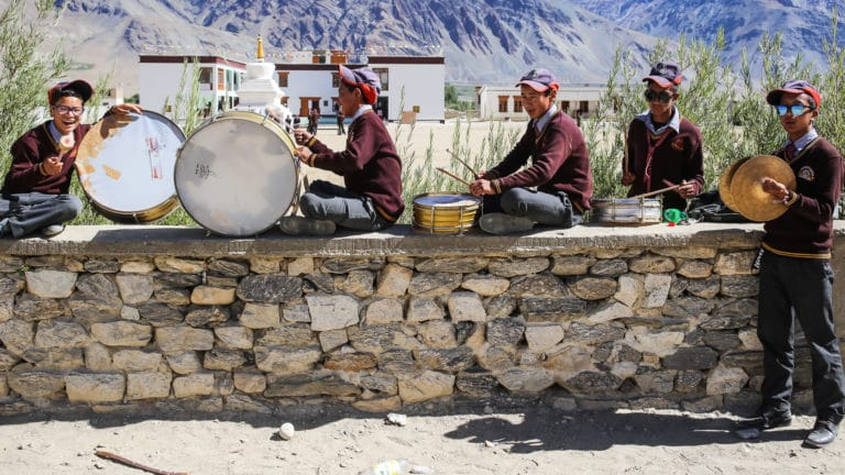 Playing the drums at the LMHS in Zanskar