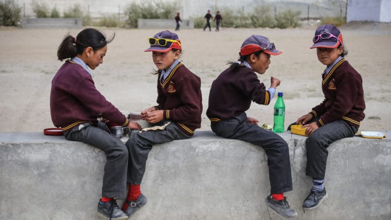Lunch break for LMHS students in Zanskar
