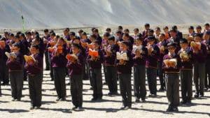 Rassemblement du matin à l'école LMHS au Zanskar