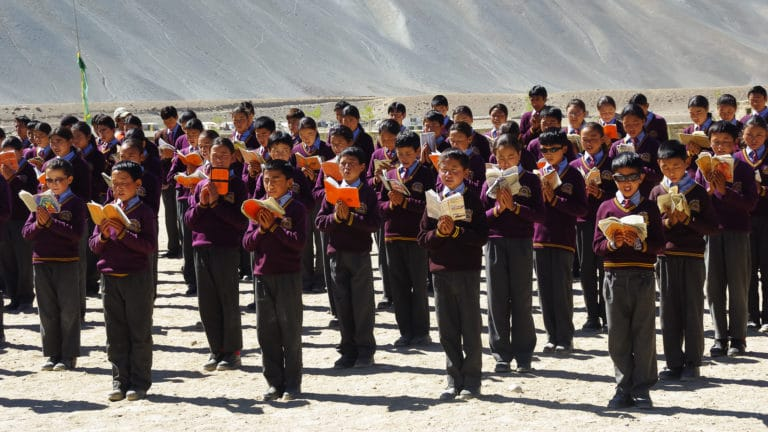 Morning assembly at LMHS in Zanskar