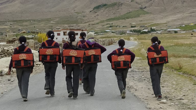 Students on the way to school in Zanskar